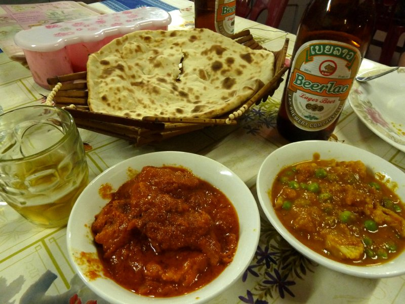 Indian meal from 'Aysha's restaurant', Luang Namtha